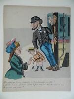 Incisione Humour a Colori A Stencil XIX Frisone Gustave Imp. Bernard C.1881