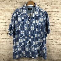 Nat Nast Mens 2XL XXL Hawaiian Shirt Blue Short Sleeve Wood Button Silk Blend