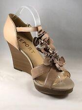 c98ba7ee47b Report Nude Flower T-Strap Closed Heel Wedge Sandal Size 10