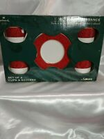 Holiday Abundance Set of 4 Red Cups & Saucers Sakura Hallmark -NIB