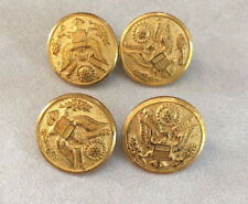 Lot of 4 Vintage Waterbury US Military Round Brass Metal Shank Buttons 2.5cm