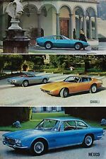 Maserati Indy, Ghibli & Mexico brochure Prospekt, ca. 1972