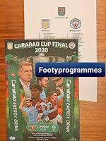Manchester City V Aston Villa 2020 Carabao Cup Final Programme & Team Sheet