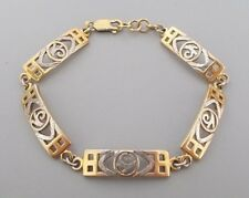 Modern solid silver gilt 7''-7.5'' adjustable panel bracelet by HO, London 2000
