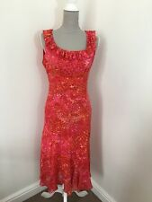 M&S Pink Red Orange Animal Print Midi Fit & Flare Frilly Dress 10 New With Tags