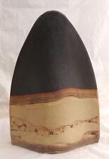 "ALKA Malta Modernist Studio Art Pottery Pillow Vase 12"" Black & Tan, Waves Beach"