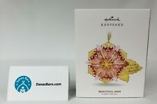 "Hallmark Keepsake Ornament 2019 ~ ""Beautiful Mom"" Flower, Glass & Metal Ornament"