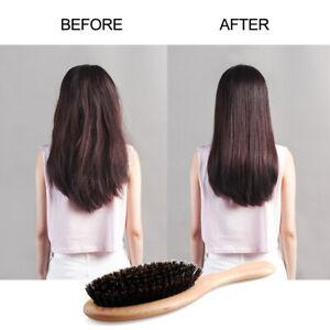 Natural Boar Bristle Hair Brush Wooden Paddle Hairbrush Detangling Hairbrus O4L3