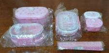 Vintage Pink Angel Hello Kitty Lunch Box Set Of 5 Chopsticks Case Rare New Cute!