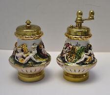 Vtg Italian Porcelain Capodimonte Pepper Grinder & Salt Shaker Cherub UNUSED!