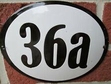 Hausnummer Oval Emaille schwarze Zahl Nr. 36a  weißer Hintergrund 19 cm x 15 cm