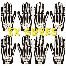 8X ADULT SKELETON GLOVES  BONE PRINT ZOMBIE HORROR HALLOWEEN COSTUME ACCESSORY