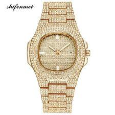 Luxus Herren Uhr Gold Diamant besetzt Datum Anzeige Ice Box Stil Business