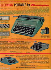 1964 ADVERT Reminton Fleetwing Electric Portable Typewriter Monarch Holiday