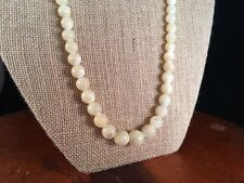 """Vintage Cream Moonglow Necklace Graduated Glass Beads Barrel clasp 24"""" inches"""