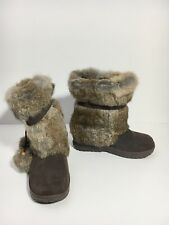 BEARPAW Tama Women's 7 M Brown Suede Leather Rabbit Fur Sheep Skin Winter Boots