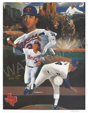NOLAN RYAN Texas Rangers Autographed 25x34 Lithograph L/E Robert Stephen Simon