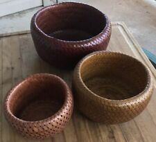 Bambu Basket Bowls Woven Nesting Set