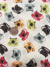100% Cotton Quilting Craft Fabric Vintage Multicoloured Telephone Phone On Cream