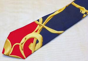 HERMES [ PARIS ] { SCARF } men's tie 100% Silk  Made in France