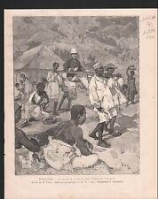 MADAGASCAR TROUPES COLONIALES CHAISE PORTEUR  1886 GRAVURE ANTIQUE PRINT