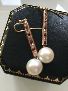 18ct Bespoke Gold Ruby & Diamond Earrings With Large Pearl