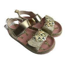 H&M Infant Size 7 Glitter Gold Tiger Animal Open Toe Girls Trainers Brand New