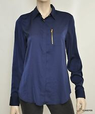 Nwt $99 RALPH LAUREN Zip-Pocket Long Sleeve Satin Blouse Top Shirt Capri Navy M