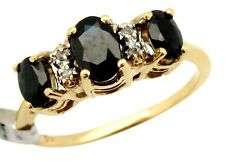 Women's 1.0 ct Diamond & Sapphire Gemstone Engagement Ring in 14k Solid Gold