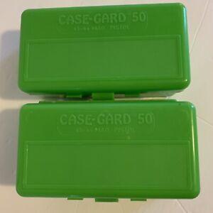 MTM CaseGard 50 Green Plastic Reloading Ammo Box 45-44 Caliber Pistol Lot of 2