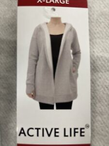 Active Life casual cardigan tunic hoodie Gray Sweatshirt Material Poly Cotton