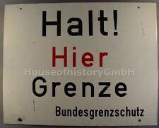 """7221, Großes Grenzschild Aufschrift """"Halt ! Hier Grenze Bundesgrenzschutz"""", BGS"""