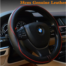 Universa 38cm Real Leather Car Steering Wheel Cover Anti-slip Sleeve Protector