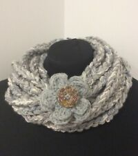 Light grey Extra long Crochet  Multistranded Scarf Necklace with Brooch Y120