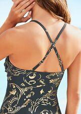 Damen Form Badeanzug Tankini Bikini schwarz Shape Bade Mode gold 38-48 neu 257