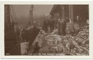Real Photo Postcard: Iceland Fish, Fish Market ABERDEEN Ca. 1920 Adelphi Series.
