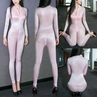 Damen Hosenanzug Glanz Bodysuit 2 Zipper Schritt offen Jumpsuit Overall Dessous