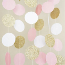 Pink White and Gold Glitter Circle Polka Dots Paper Garland Banner 7FT Banner