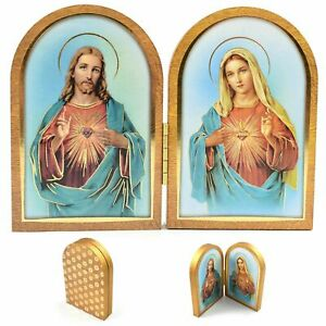 SACRED HEART OF JESUS & MARY WOOD PLAQUE Jesus Virgin Pray Religious Gift wooden