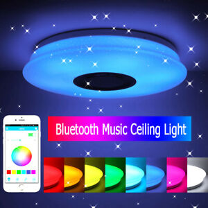36W RGB LED Ceiling Light Lamp Bluetooth Music Speaker Dimmable + APP Remote UK
