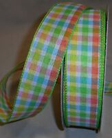 """5 Yds. SPRING PLAID WIRE EDGE RIBBON 1 1/2"""" Wide"""