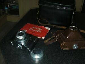 Vintage BRAUN PAXETTE I L 35mm film Camera with case, bag, manual & lens hood