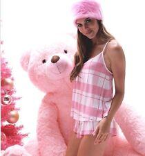 Wildfox Couture Day Dream Set Pink Plaid Super Soft Thermal PJ Shorts Set, M NIB