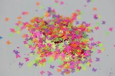 USA Neon BUTTERFLY Shape Glitter Mix Spangles Acrylic Gel Nail Art Nail Polish