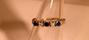 Memory Saphir-Brillant Ring 585 Gold 14 Kt Weißgold