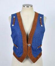 Vtg 90s Blue Denim Brown Suede Leather Jean Vest Western Sleeveless Top Womens S