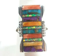 925 STERLING SILVER RECTANGLE DESIGN SPINY OYSTER OPAL TURQUOISE SIZE 9 RING
