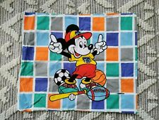 Vtg Disney Mickey Mouse Pillow Case Cover Colorful Bedding Rare Checked 2-Sided