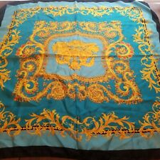 Sacks Fifth Avenue  Square Scarf Teal Gold Scrolls Italy 100% Silk
