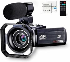 4K Camcorder Vlogging Camera for YouTube Ultra HD 4K 48MP Video Camera with Micr
